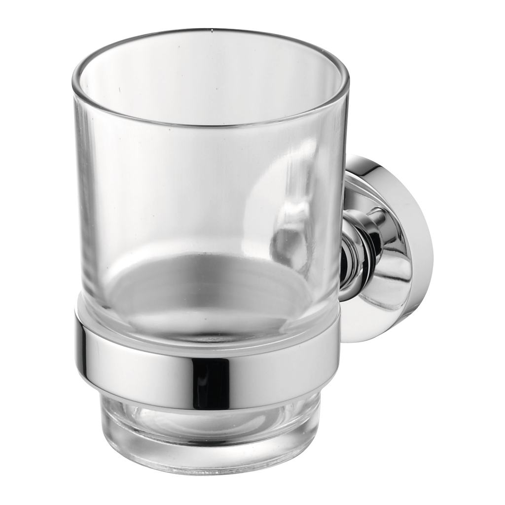 Clear Glass Tumbler & Holder