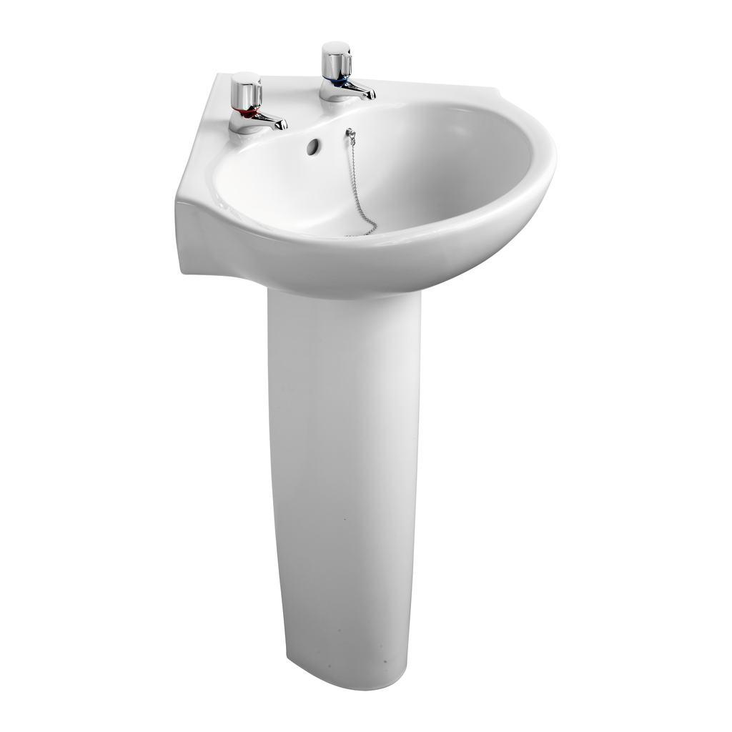 56cm Corner Washbasin, 2 tapholes