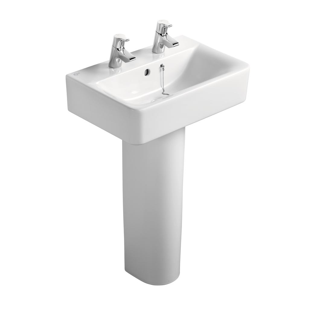 Cube 55cm Short Projection Washbasin, 2 tapholes