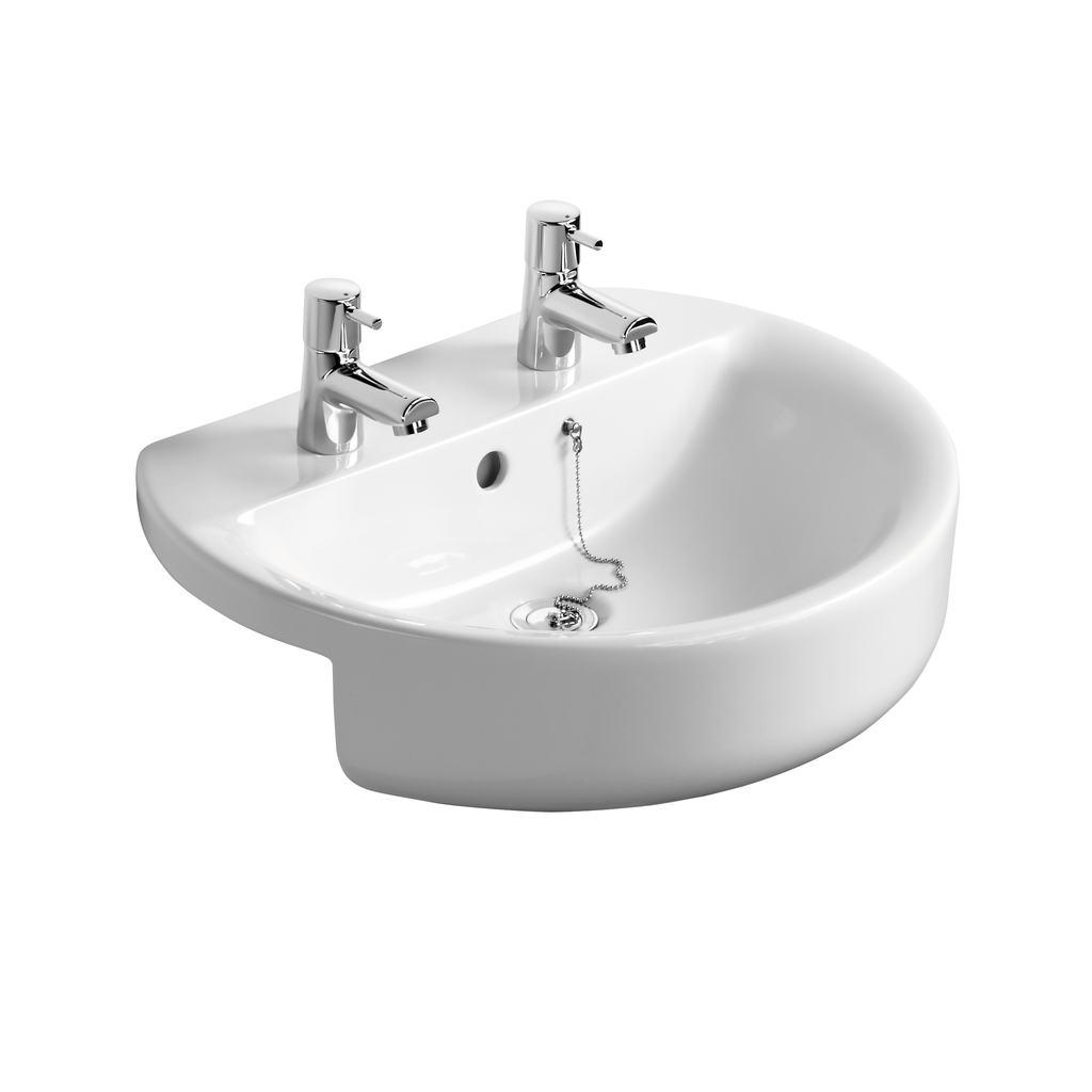 Sphere 55cm Semi-Countertop Washbasin, 2 tapholes