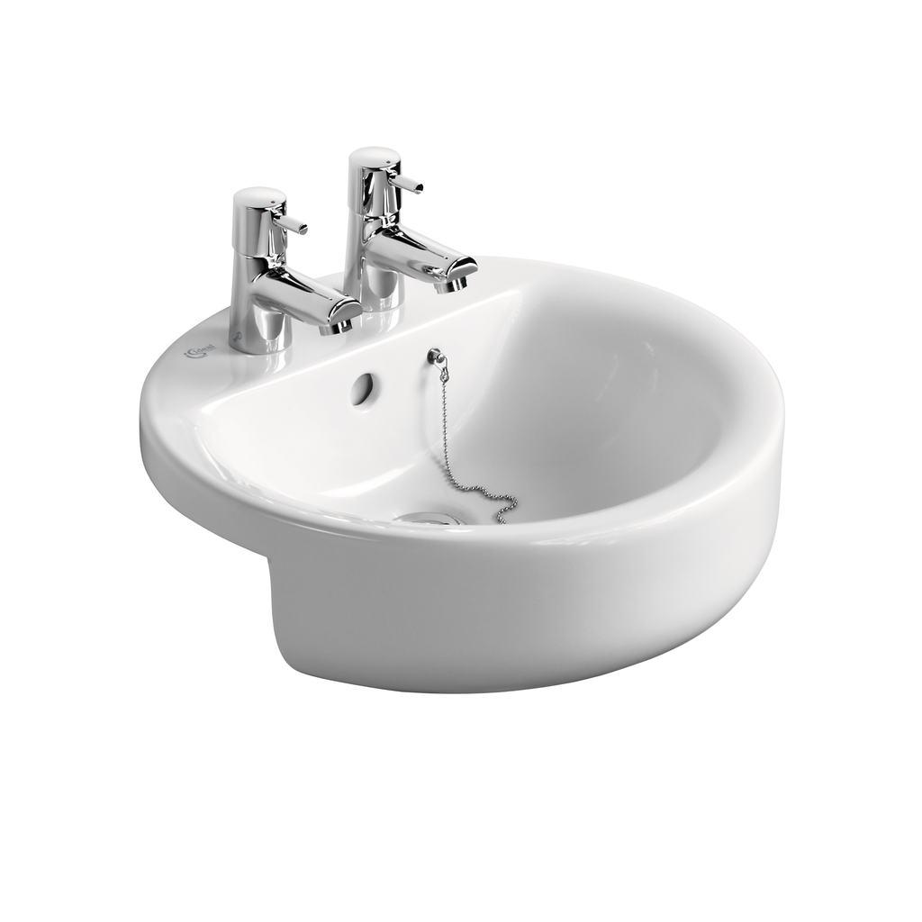 Sphere 45cm Semi-Countertop Washbasin, 2 tapholes