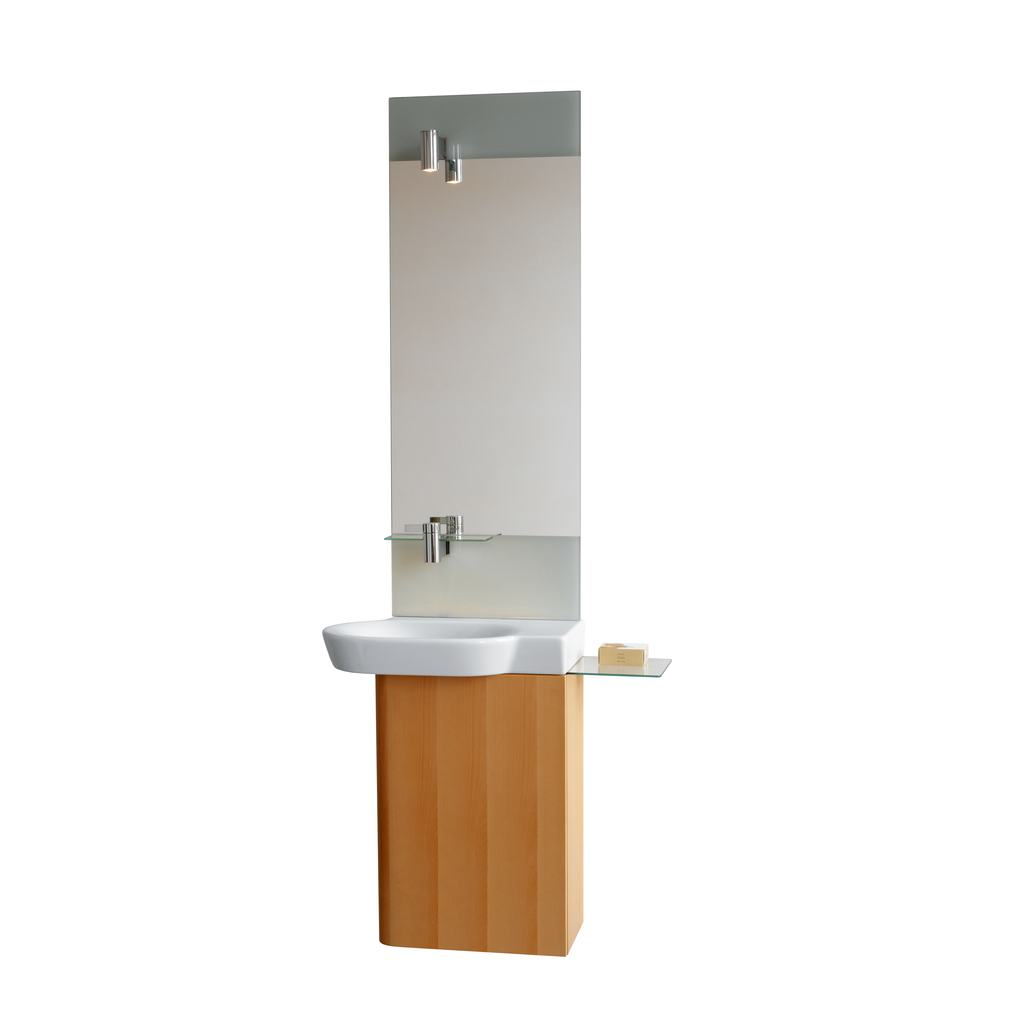 Mirror with Lamp and Integrated Basin Mixer - Left Hand