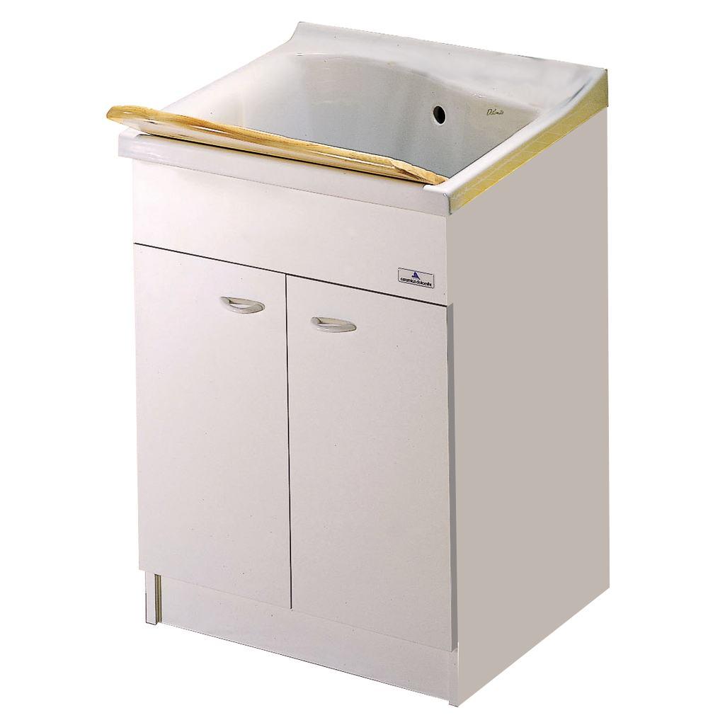 Meuble pour bac 61 cm 59 x 59 x h 81 cm j3503 for Meuble buanderie avec bac a laver