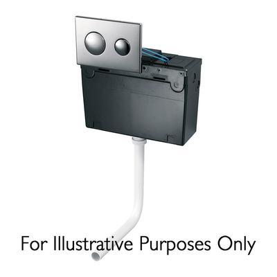 Universal Height, Bottom Inlet Cistern - Pneumatic Dual Flush Valve - no flushplate - 6 / 4 litre flush