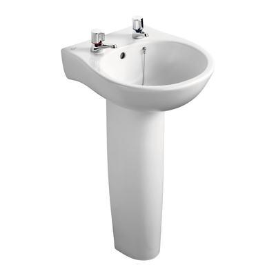 44cm Narrow Washbasin, 2 tapholes