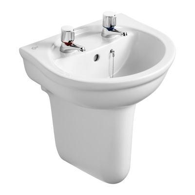 45cm Washbasin, 2 tapholes