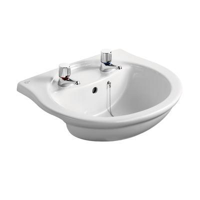55cm Semi-Countertop Washbasin, 2 tapholes