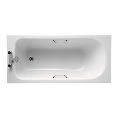 170x70cm Rectangular Bath with Grips, 2 tapholes
