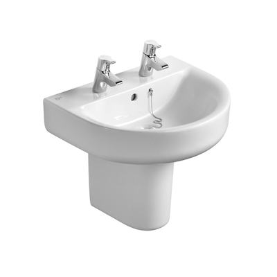 Arc 55cm Washbasin, 2 tapholes