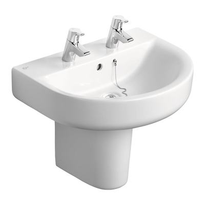 Arc 60cm Washbasin, 2 tapholes