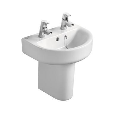 Arc 45cm Handrinse Washbasin, 2 tapholes
