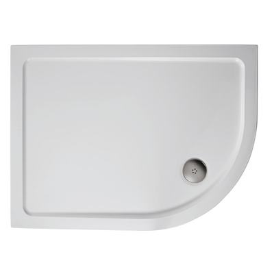 1000x800mm Offset Quadrant Low Profile Shower Tray, Flat Top