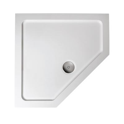 900mm Pentagon Low Profile Shower Tray, Flat Top